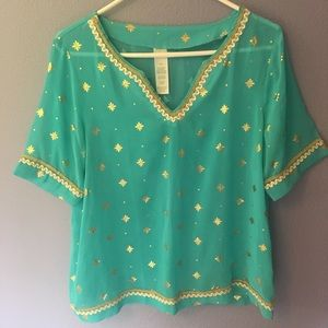 Tops - Turquoise and gold metallic accented top